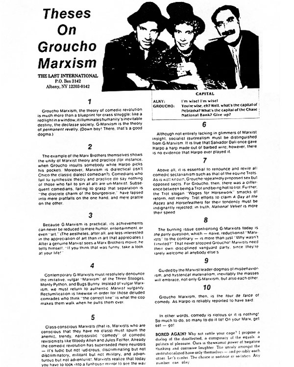 theses on groucho marxism the marx brothers
