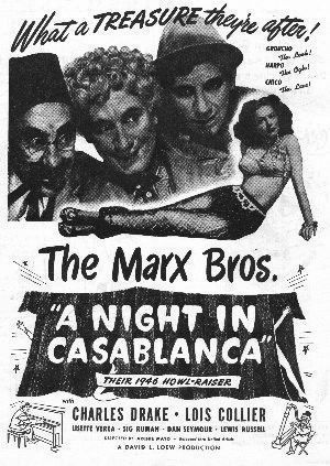 Theatrical poster for the Marxes in their penultimate film, A Night In Casablanca.