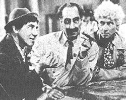 Chico, Groucho, and Harpo in a scene from the film